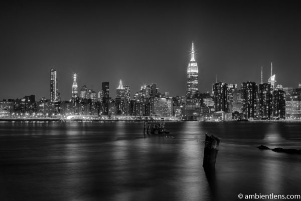 Midtown Manhattan and the East River at Night (BW)