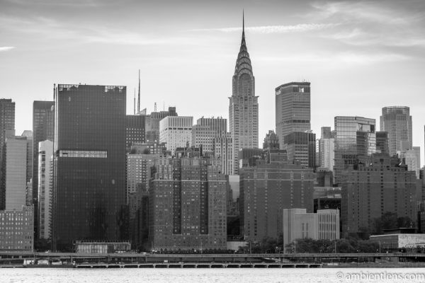 Midtown Manhattan and the East River at Sunset 1 (BW)