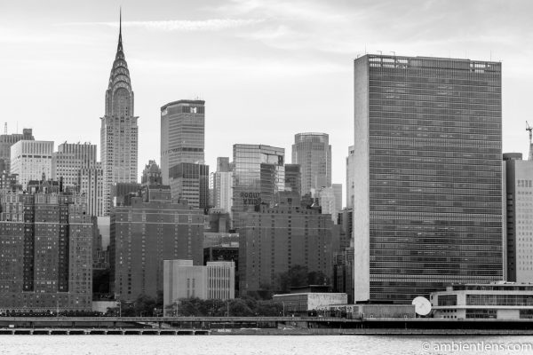 Midtown Manhattan and the East River at Sunset 3 (BW)