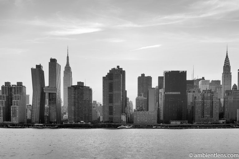 Midtown Manhattan and the East River at Sunset 7 (BW)
