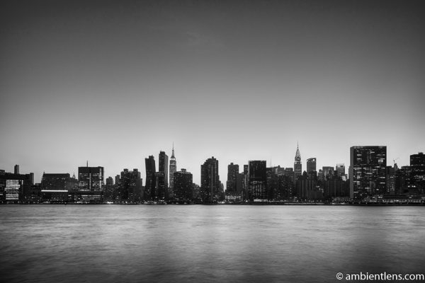 Midtown Manhattan and the East River at Sunset 9 (BW)