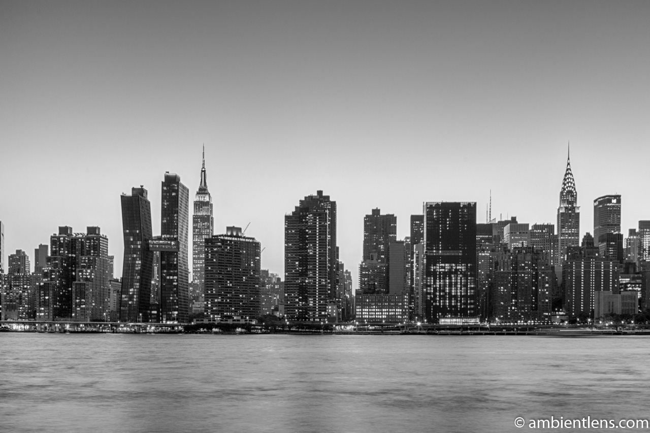 Midtown Manhattan and the East River at Sunset 10 (BW)