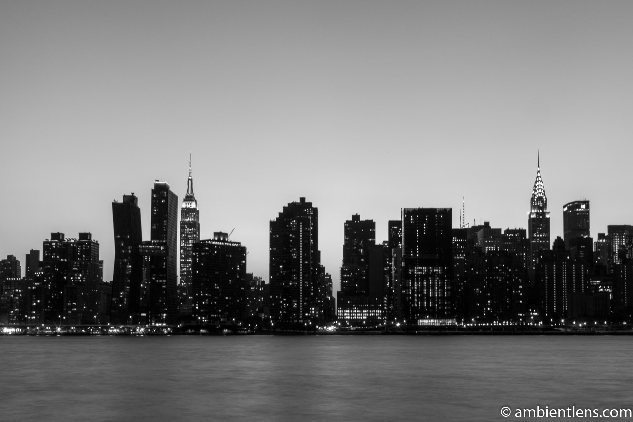 Midtown Manhattan and the East River at Sunset 6 (BW)