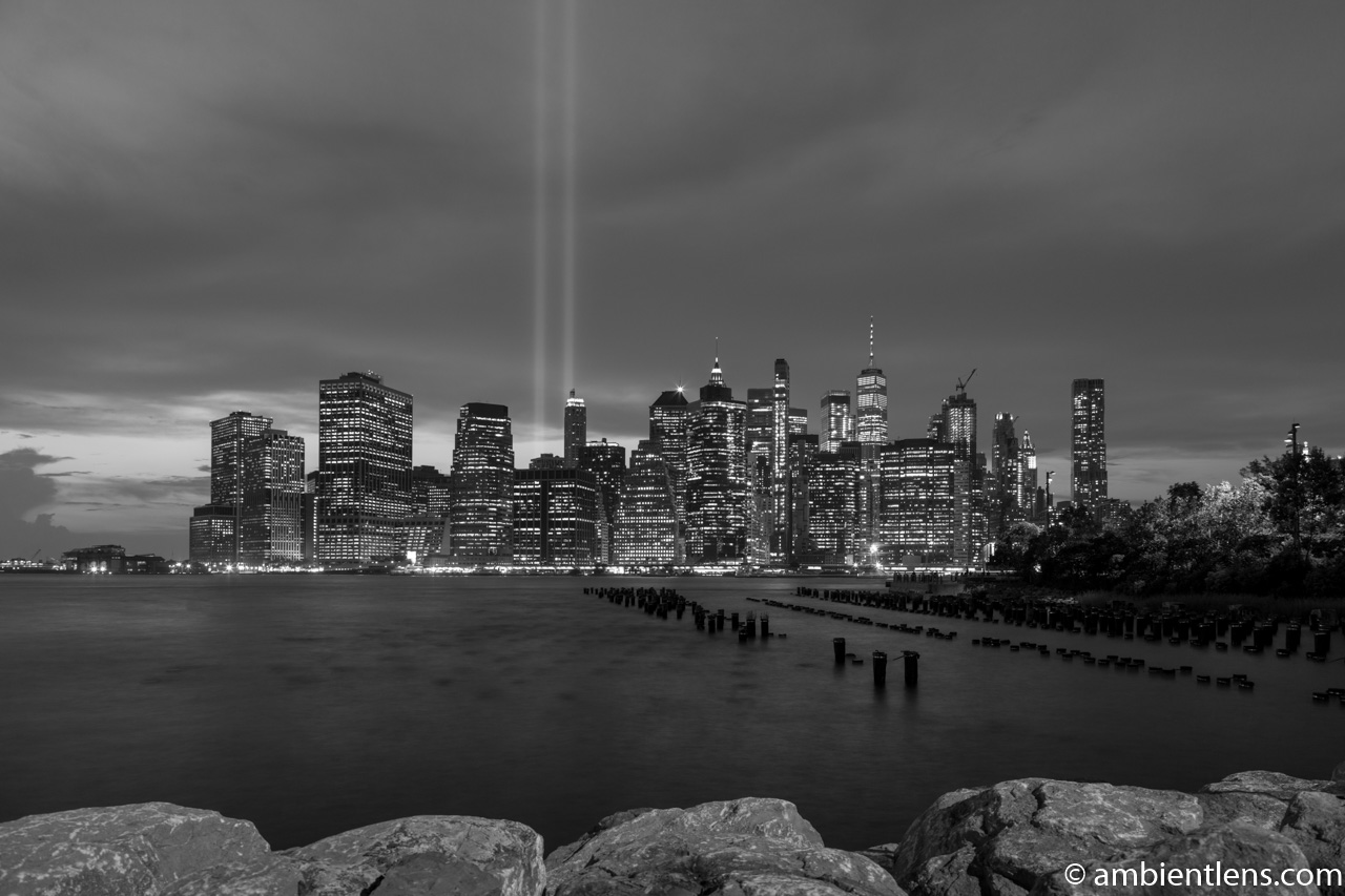 September 11 Twin Lights in Lower Manhattan, New York 4 (BW)