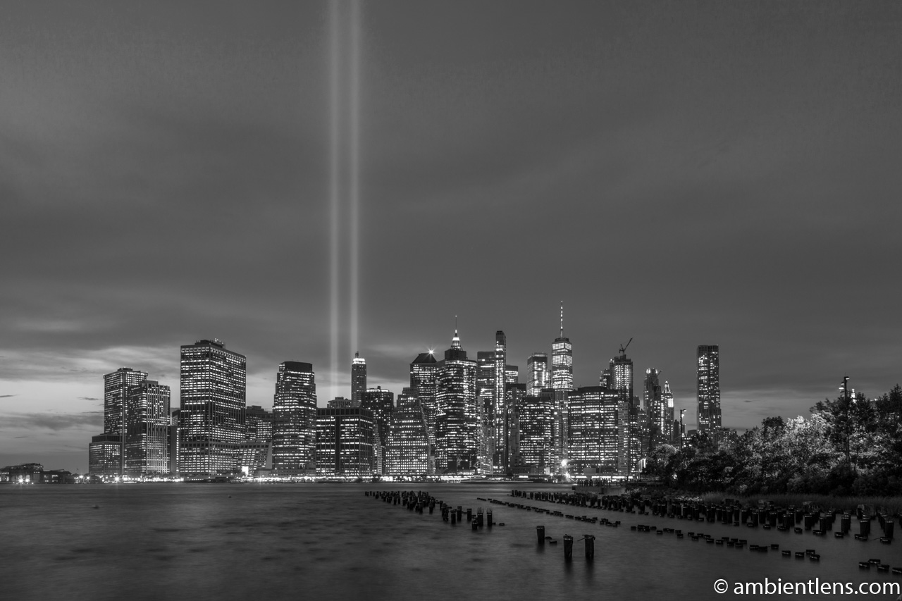 September 11 Twin Lights in Lower Manhattan, New York 3 (BW)