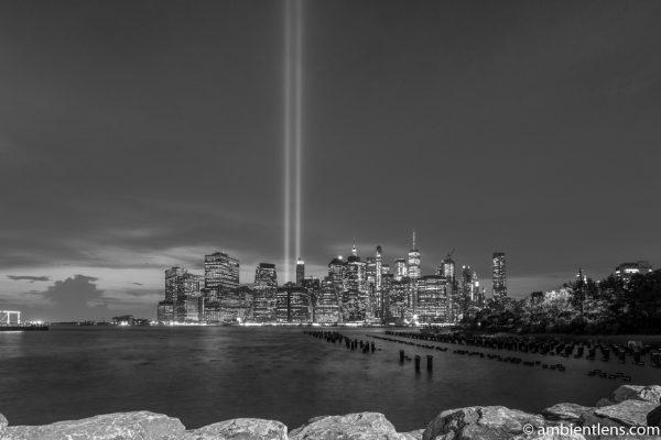 September 11 Twin Lights in Lower Manhattan, New York 2 (BW)