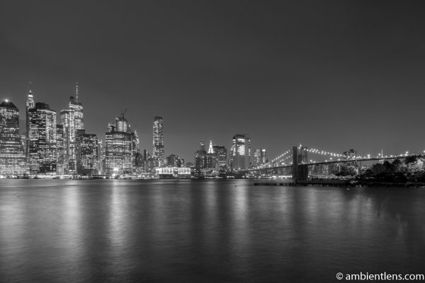 Lower Manhattan and the Hudson River at Night 9 (BW)