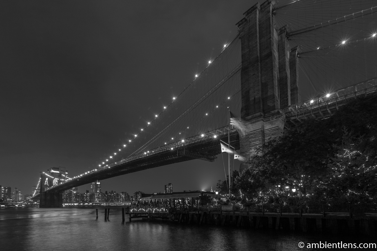 Brooklyn Bridge in Blue Light 6 (BW)