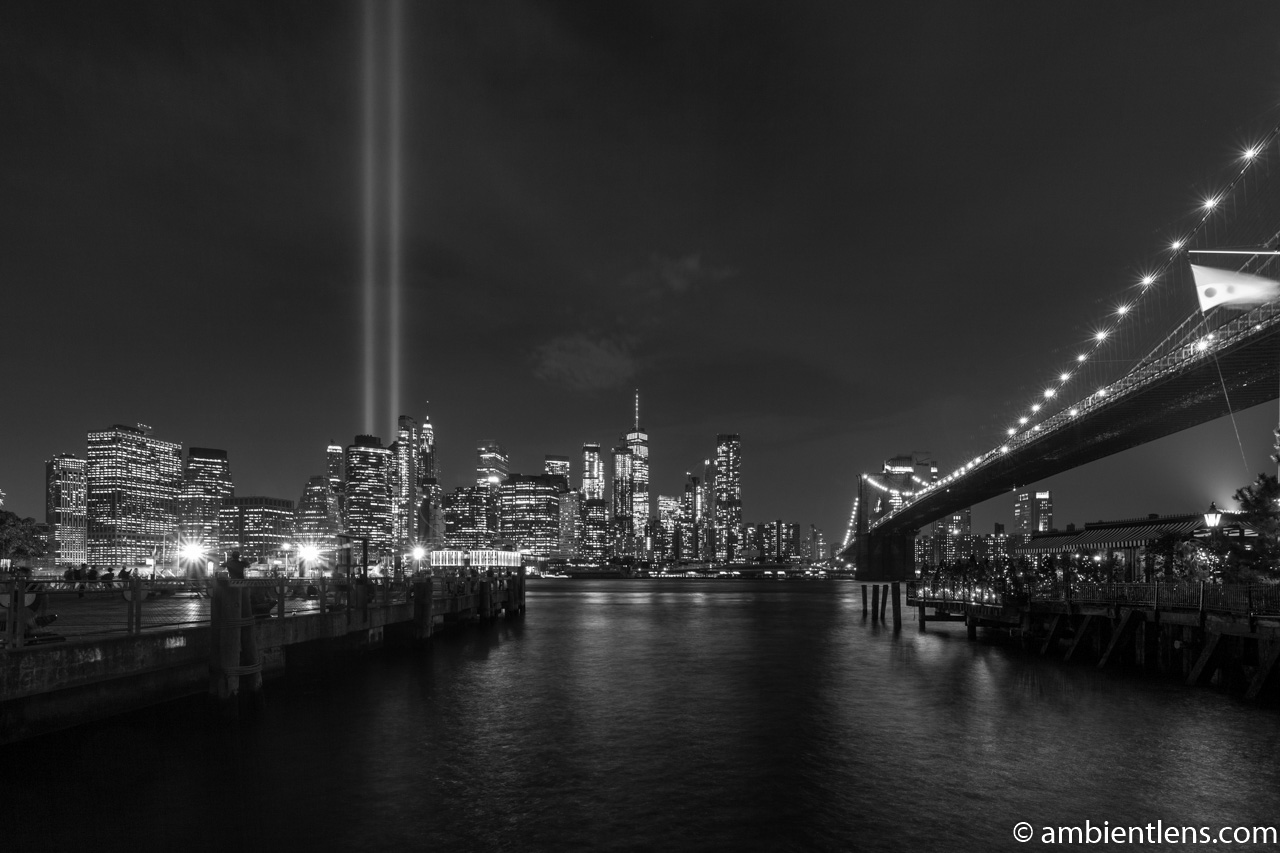 September 11 Twin Lights in Lower Manhattan, New York 1 (BW)