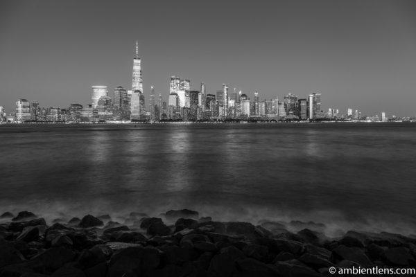 Lower Manhattan and the Hudson River at Night 8 (BW)