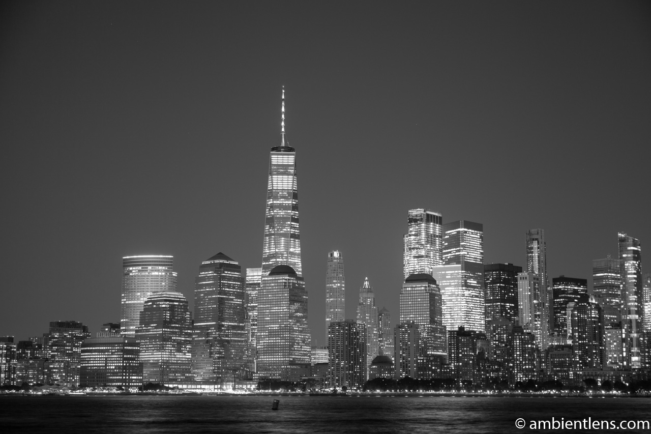 Lower Manhattan and the Hudson River at Night 7 (BW)