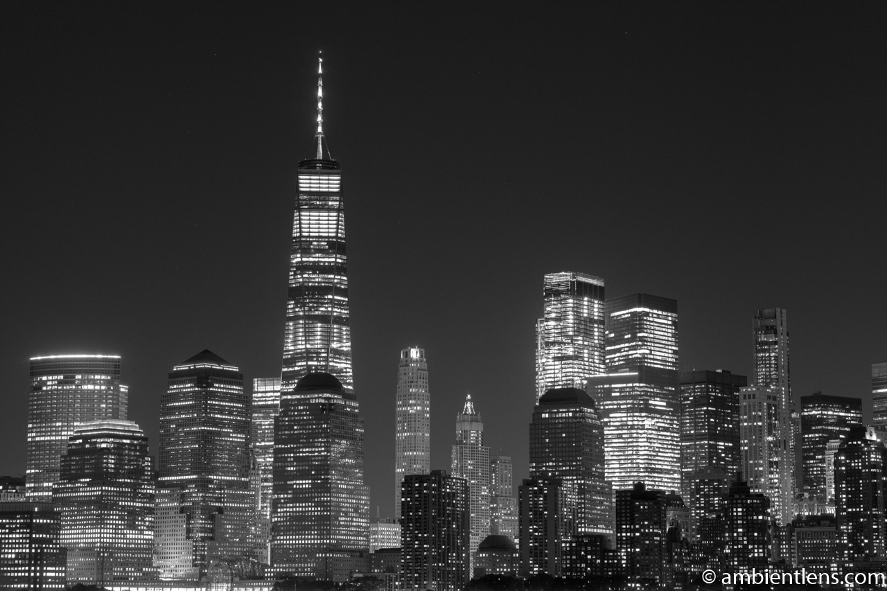 Lower Manhattan and the Hudson River at Night 6 (BW)