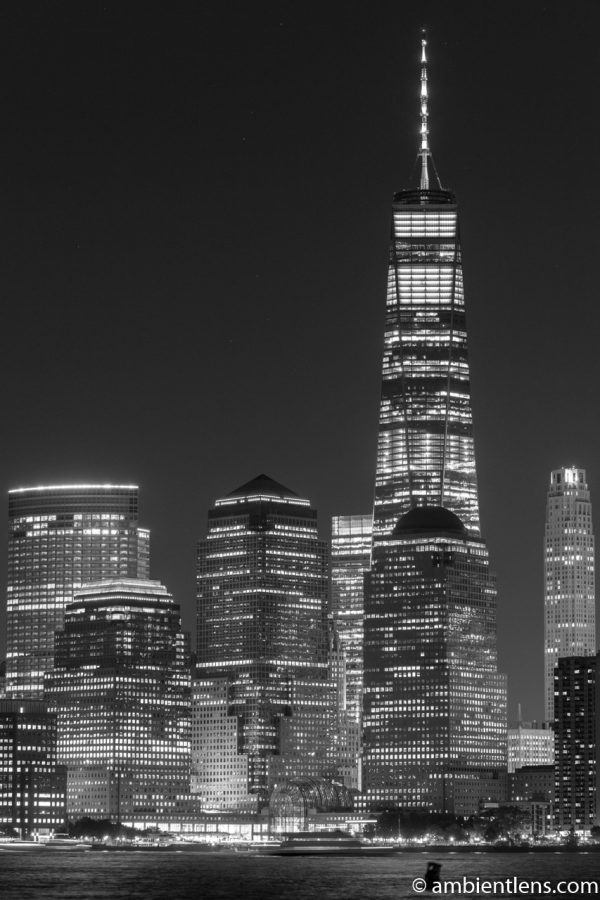 Lower Manhattan and the Hudson River at Night 4 (BW)