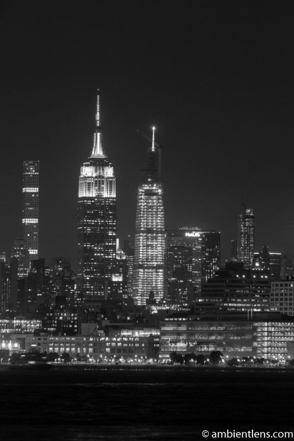 Midtown Manhattan and the Hudson River at Night 5 (BW)