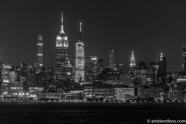 Midtown Manhattan and the Hudson River at Night 4 (BW)