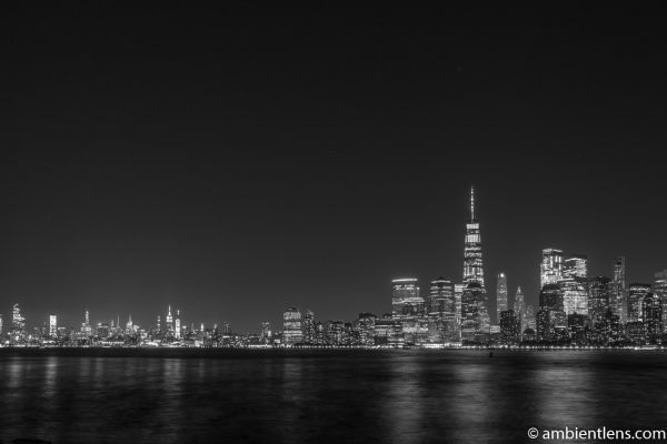 Lower Manhattan and the Hudson River at Night 3 (BW)