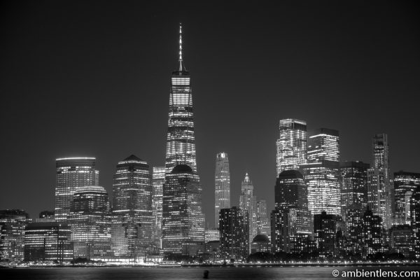 Lower Manhattan and the Hudson River at Night 2 (BW)