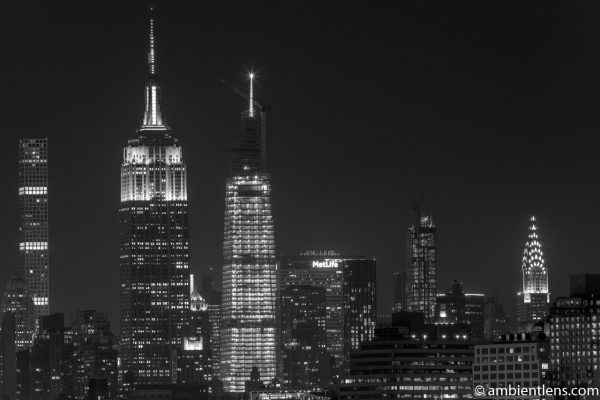 Midtown Manhattan and the Hudson River at Night 3 (BW)