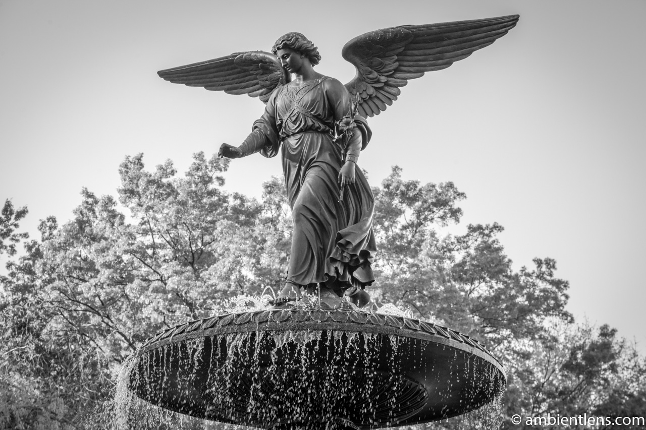 Bethesda Fountain Angel, Central Park, New York (BW)