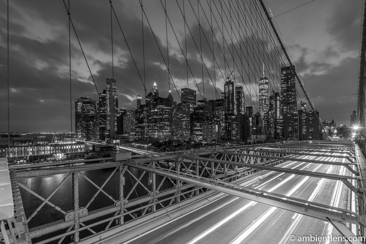 Cars on the Brooklyn Bridge at Night 3 (BW)