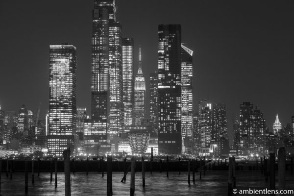 Midtown Manhattan and the Hudson River at Night 2 (BW)
