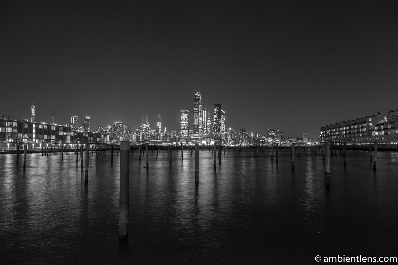 Midtown Manhattan and the Hudson River at Night 1 (BW)