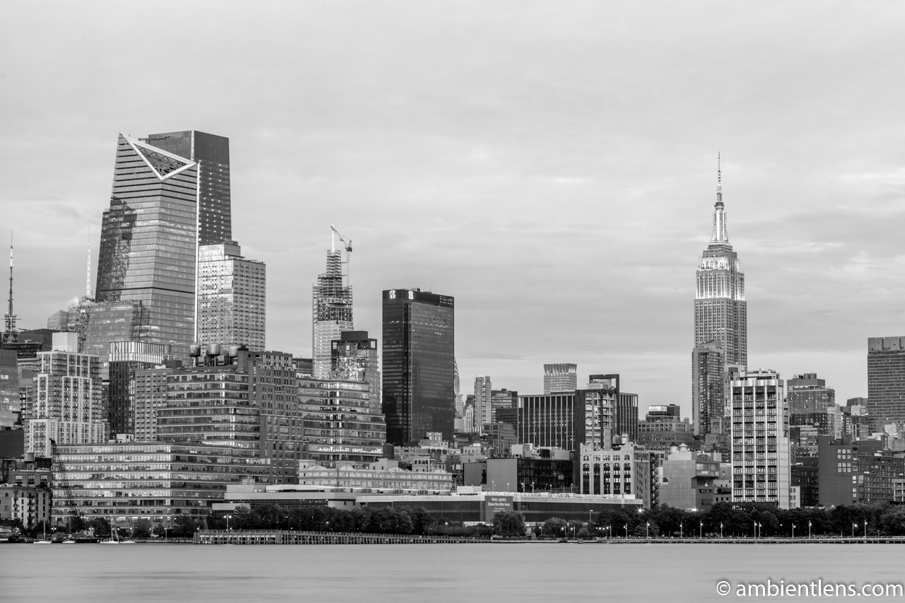 Midtown Manhattan and the Hudson River at Sunset 5 (BW)
