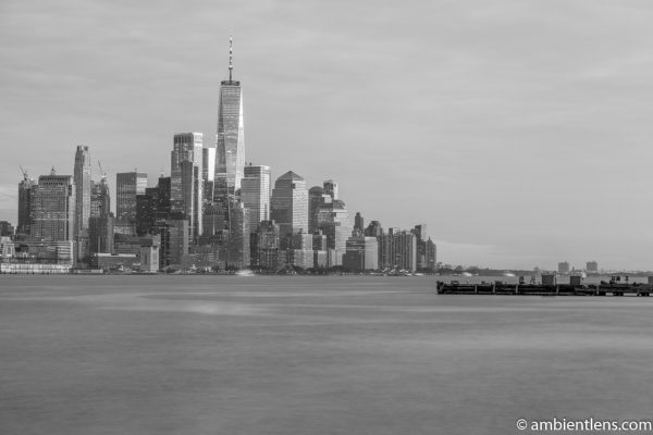 Lower Manhattan and the Hudson River at Sunset 3 (BW)