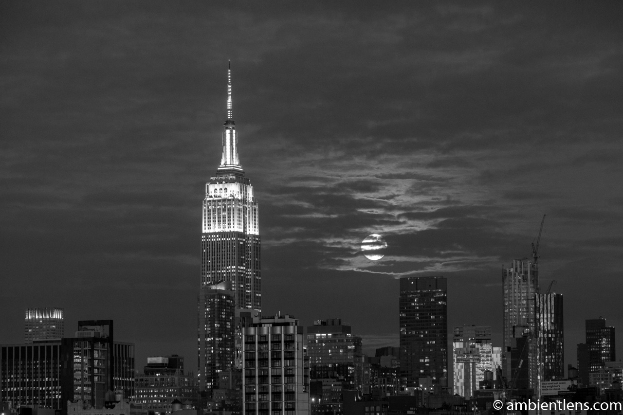 Moonrise over Manhattan, New York 7 (BW)