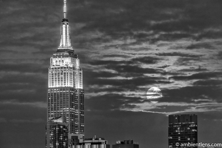 Moonrise over Manhattan, New York 6 (BW)