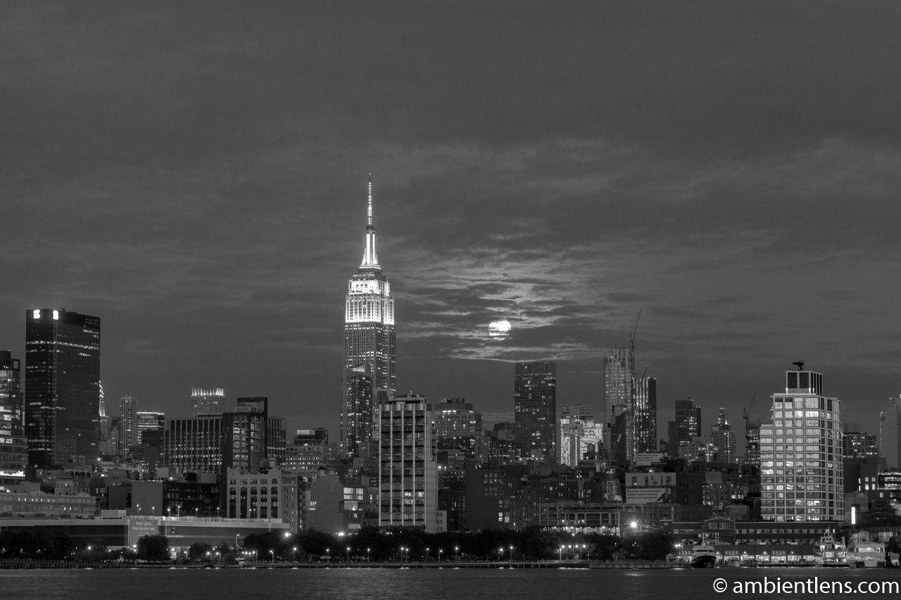 Moonrise over Manhattan, New York 5 (BW)