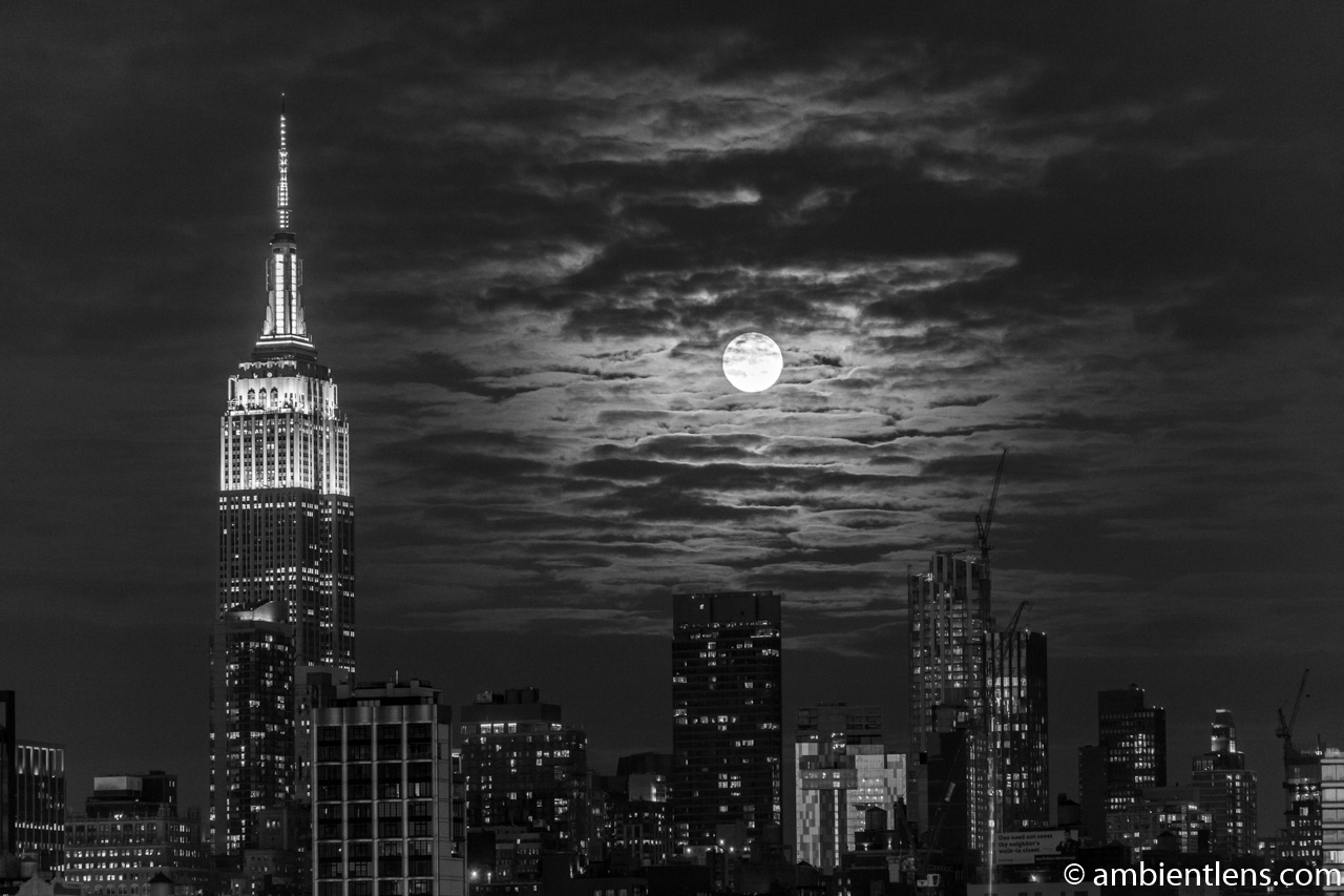 Moonrise over Manhattan, New York 3 (BW)