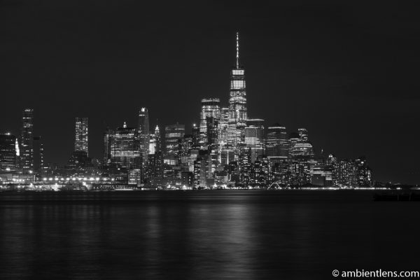 Lower Manhattan and the Hudson River at Night 1 (BW)