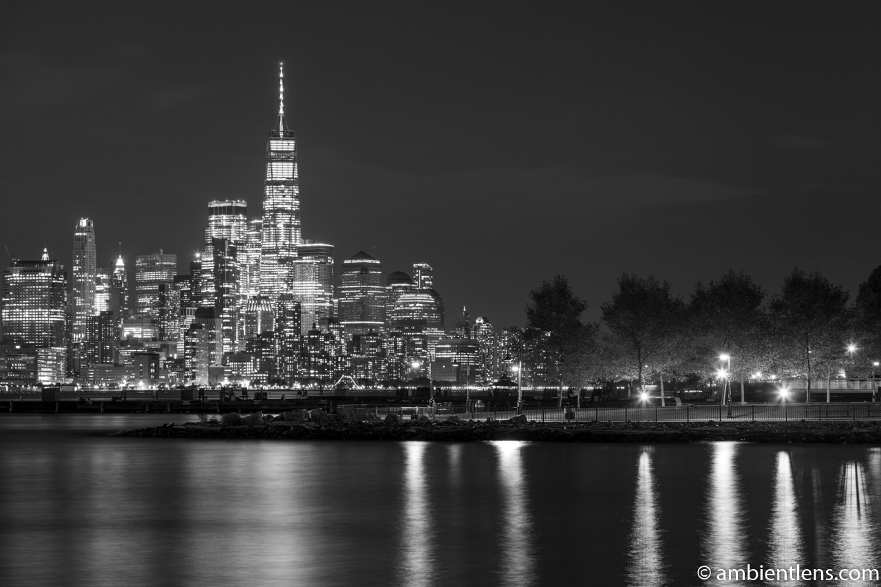 Lower Manhattan and Hoboken at Night 1 (BW)