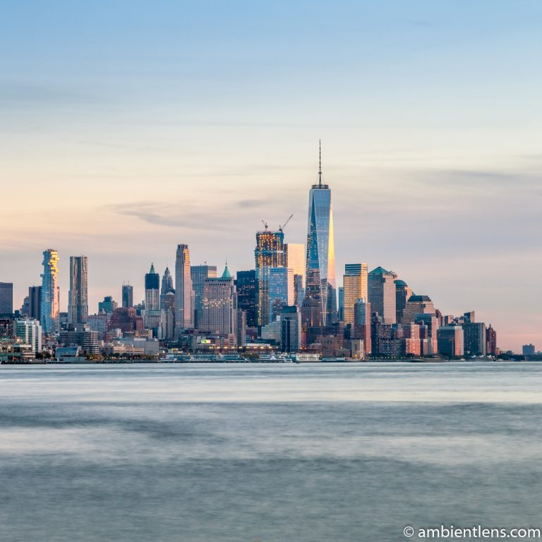 Lower Manhattan and the Hudson River at Sunset 1 (SQ)