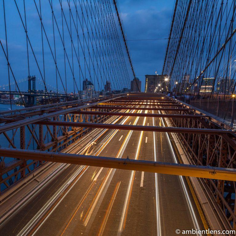 Cars on the Brooklyn Bridge at Night 4 (SQ)