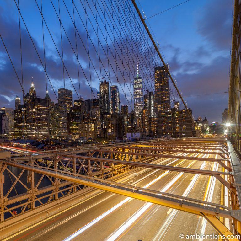 Cars on the Brooklyn Bridge at Night 3 (SQ)