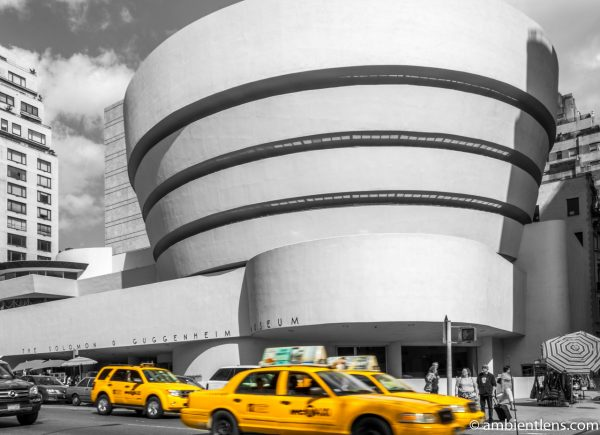 Yellow Cabs by the Guggenheim Museum, New York
