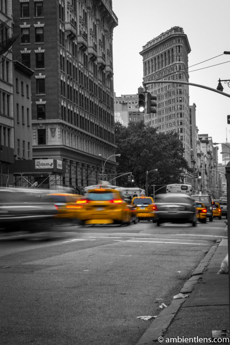 Yellow Cabs near the Flat Iron Building, New York
