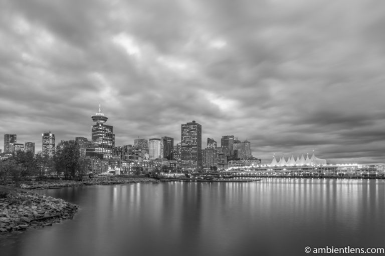 Downtown Vancouver from Crab Park at Sunset 1 (BW)