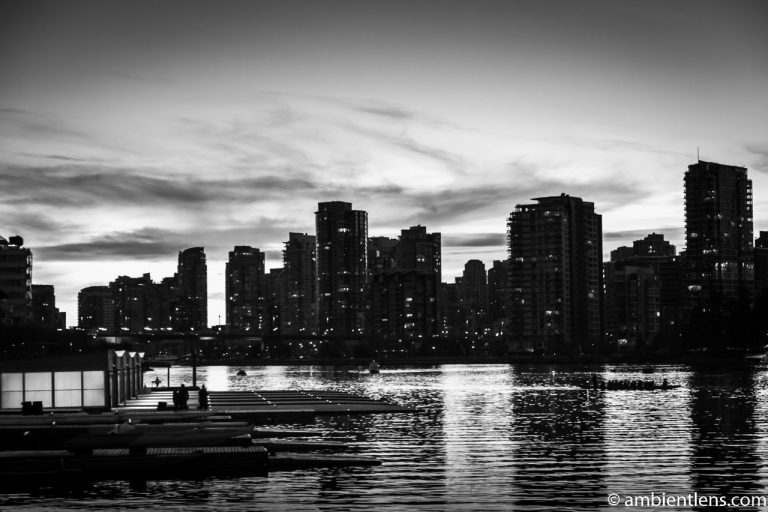 False Creek Sunset in Downtown Vancouver (BW)
