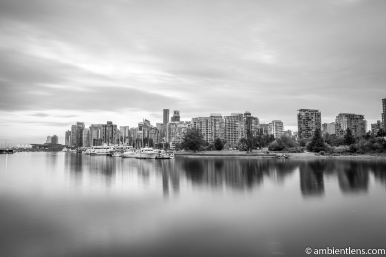 Reflection of Downtown Vancouver 2 (BW)