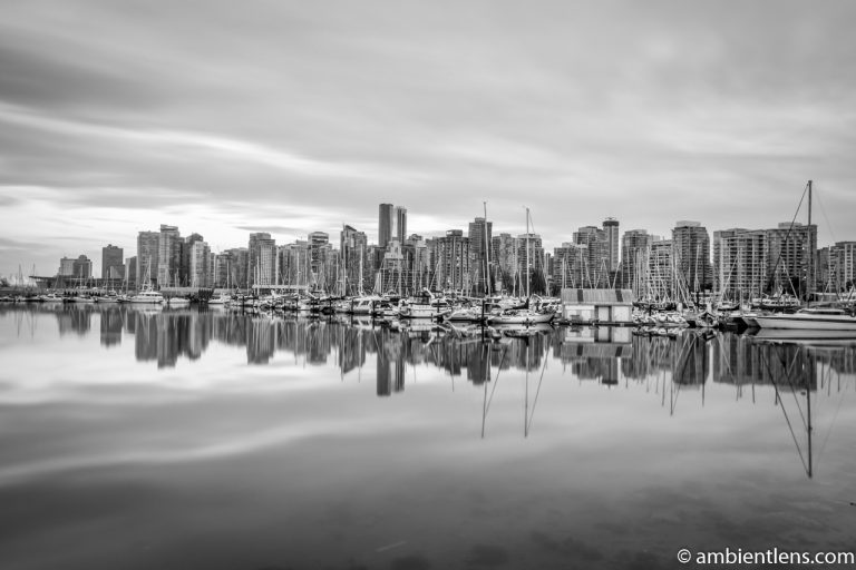 Reflection of Downtown Vancouver 1 (BW)