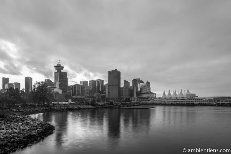 Downtown Vancouver from Crab Park at Sunset 2 (BW)