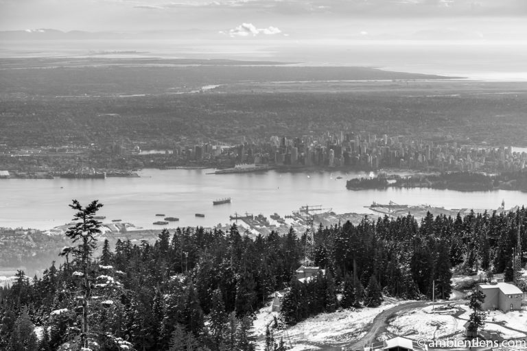 Downtown Vancouver from Grouse Mountain at Sunset 1 (BW)