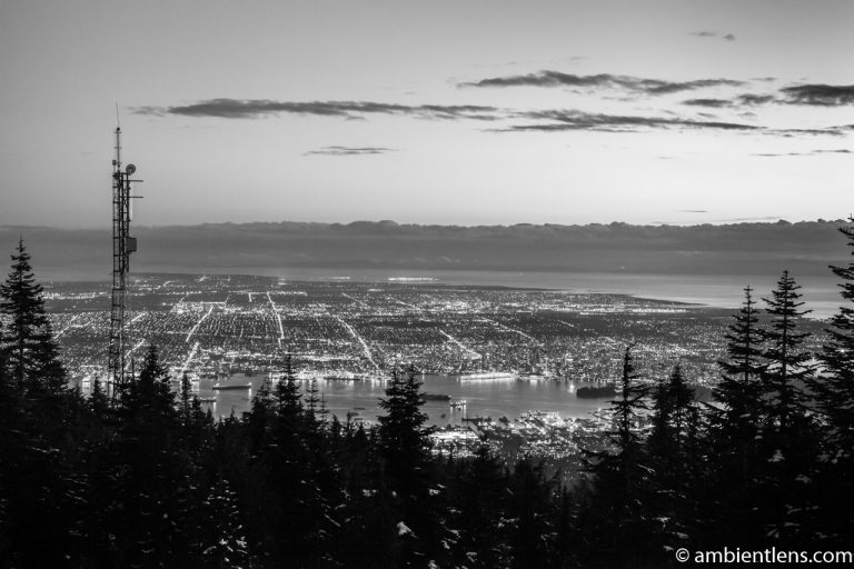 Downtown Vancouver from Grouse Mountain at Sunset 2 (BW)