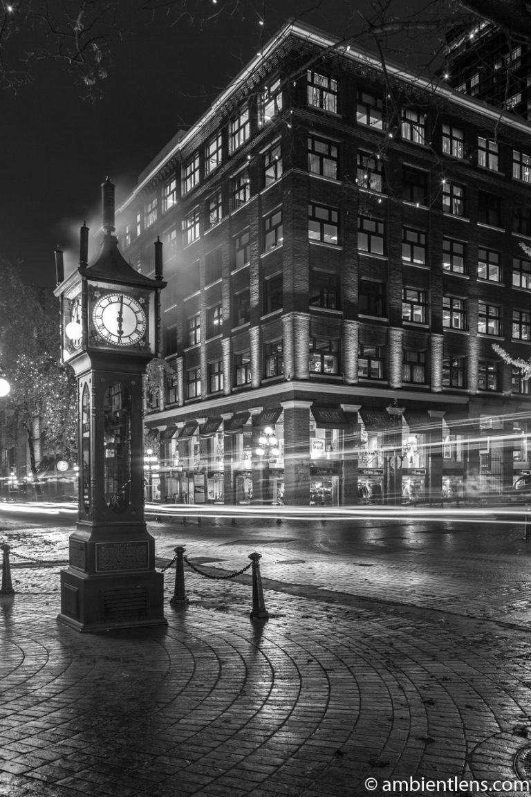 Gastown Steam Clock, Vancouver, BC (BW)
