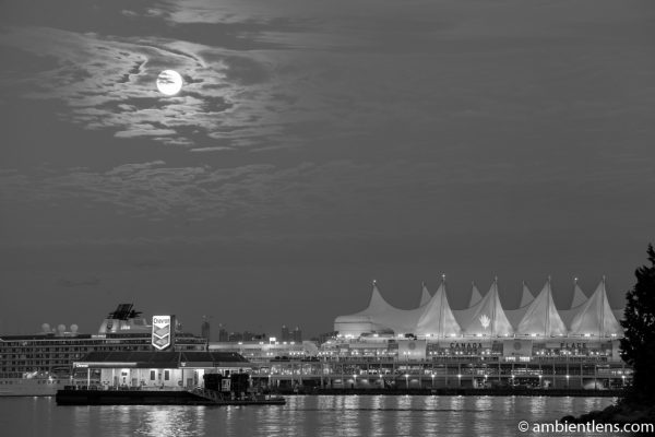 Moon and Downtown Vancouver 3 (BW)