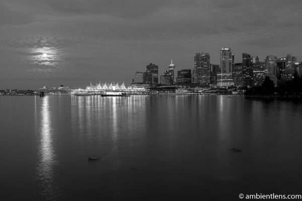 Moon and Downtown Vancouver 2 (BW)
