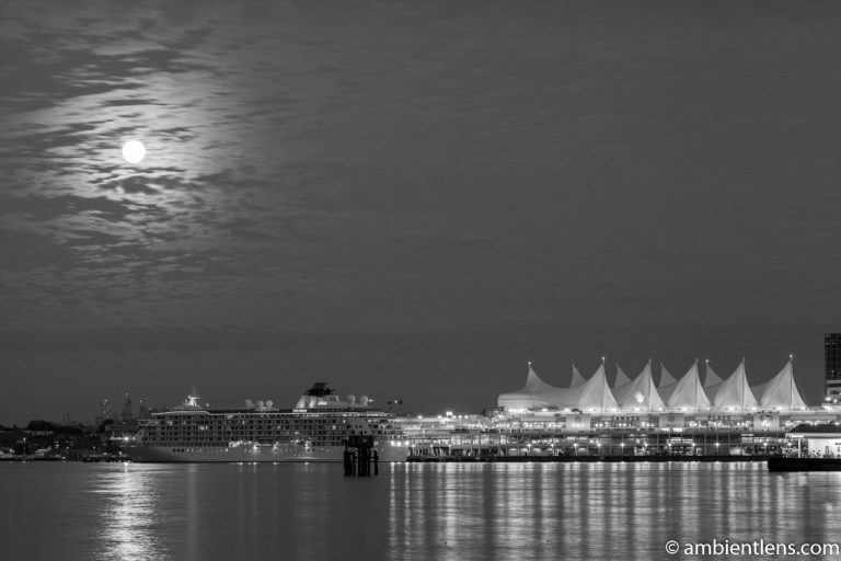 Moon and Downtown Vancouver 1 (BW)